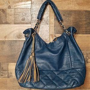 Big Buddha teal large satchel purse